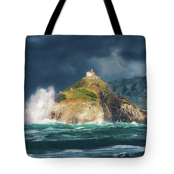 Big Waves Over San Juan De Gaztelugatxe Tote Bag