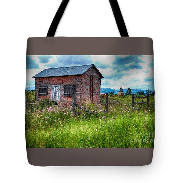 Tote Bag featuring the photograph Bigfork Farm Shed by Vinnie Oakes