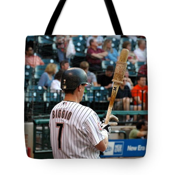Tote Bag featuring the photograph Biggio At Bat 3 by Teresa Blanton
