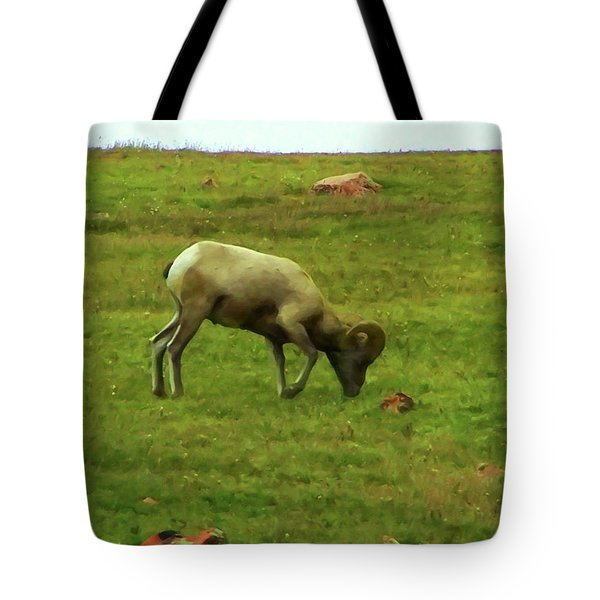 Tote Bag featuring the digital art Bighorn Sheep Grazing by Chris Flees