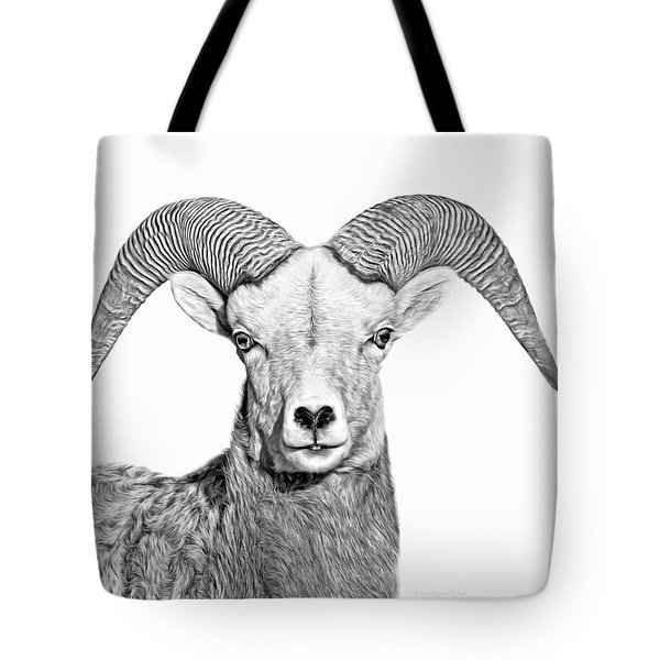 Tote Bag featuring the photograph Bighorn Sheep Ram Black And White by Jennie Marie Schell