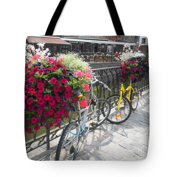 Bike And Flowers Tote Bag