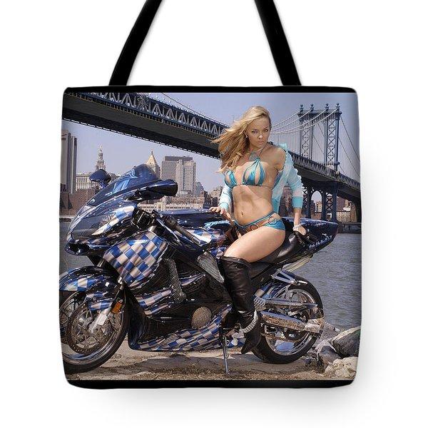 Bike, Babe, And Bridge In The Big Apple Tote Bag