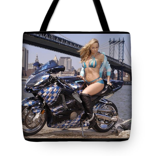 Bike, Babe, And Bridge In The Big Apple Tote Bag by Lawrence Christopher