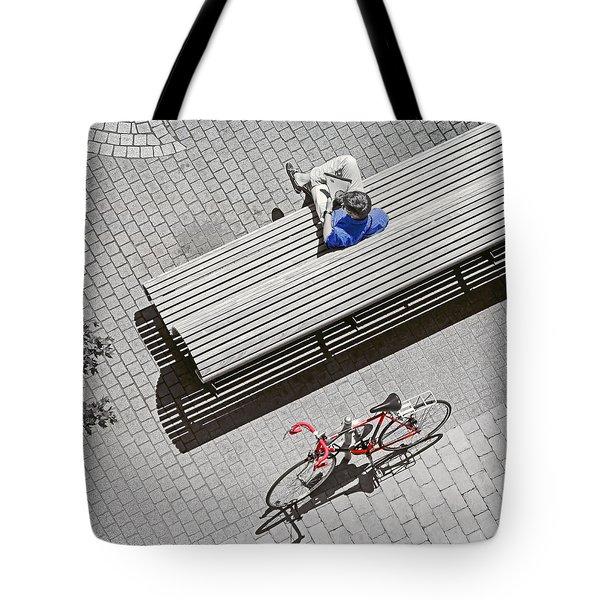 Bike Break Tote Bag by Keith Armstrong