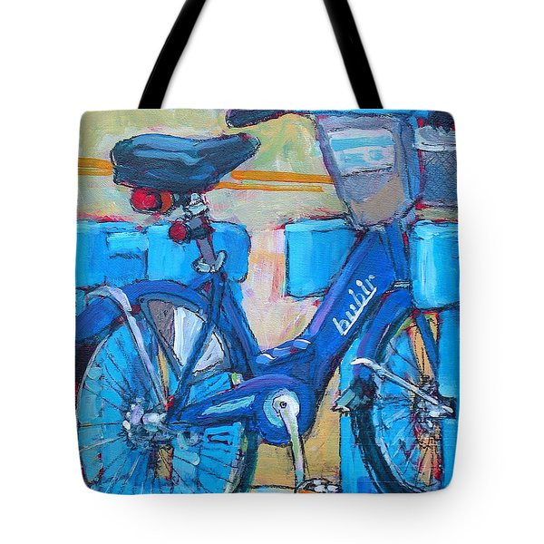 Tote Bag featuring the painting Bike Bubbler by Les Leffingwell