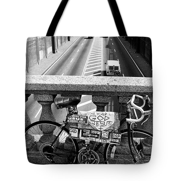 Tote Bag featuring the photograph Bike Grand Concourse Bronx by Dave Beckerman