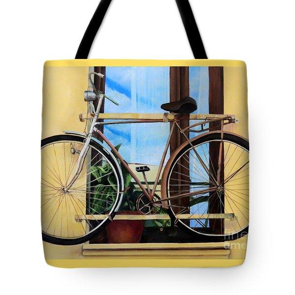 Bike In The Window Tote Bag