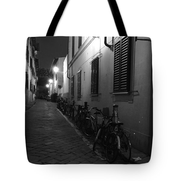 Bike Lined Alley Tote Bag