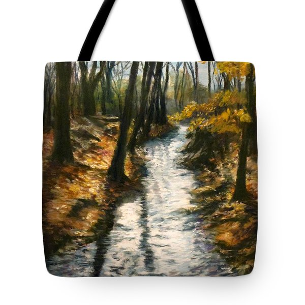 Bike Path Brook Tote Bag by Jack Skinner