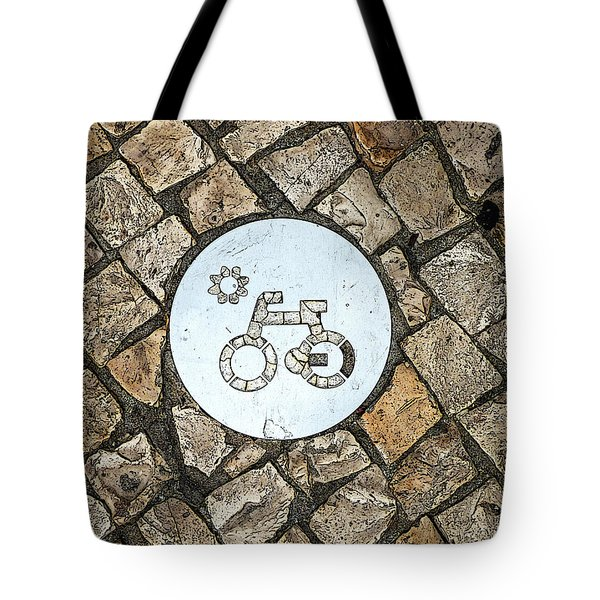 Bike Path Sign On A Cobblestone Pavement Tote Bag