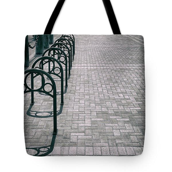 Tote Bag featuring the photograph Bike Rack Square by Michael Hope