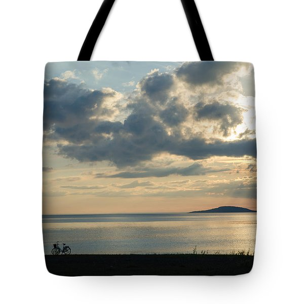 Bike Silhouettes By The Coast Tote Bag