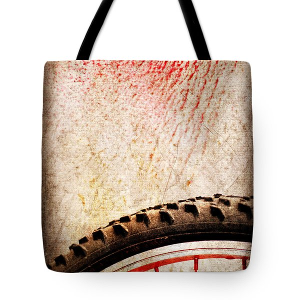 Bike Wheel Red Spray Tote Bag