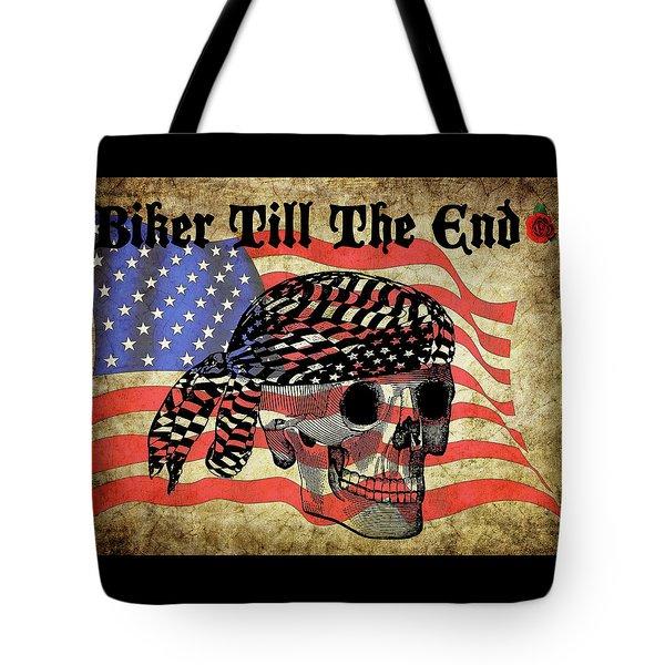Biker Skull American Flag Old Paper Art Tote Bag