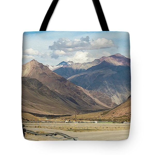 Bikers And The Andes Mountains Tote Bag