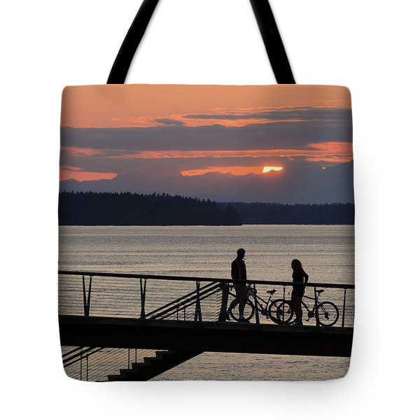 Bikers At Sunset Tote Bag
