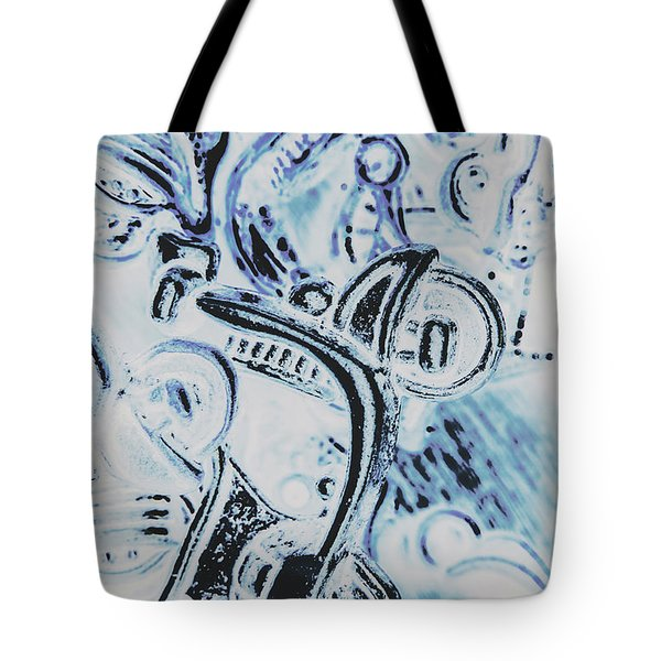Bikes And Blue Cities Tote Bag