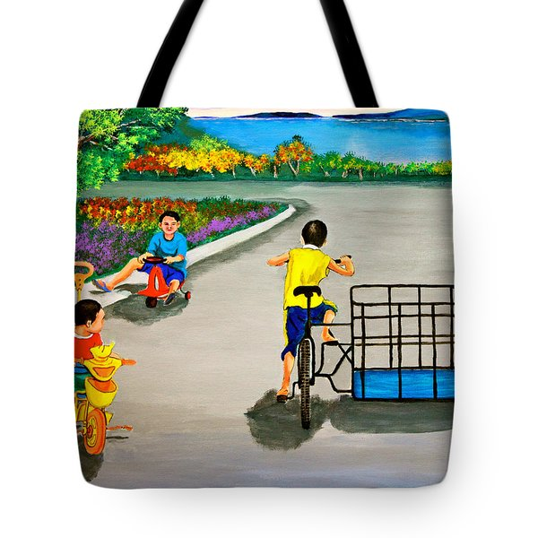 Tote Bag featuring the painting Bikes by Cyril Maza