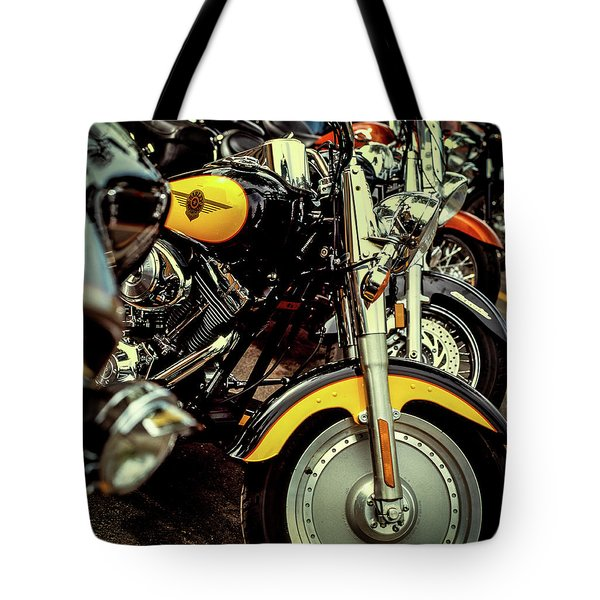 Tote Bag featuring the photograph Bikes In A Row by Samuel M Purvis III