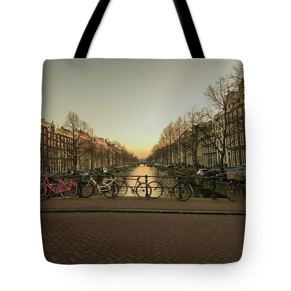 Bikes On The Canal Bridge Tote Bag