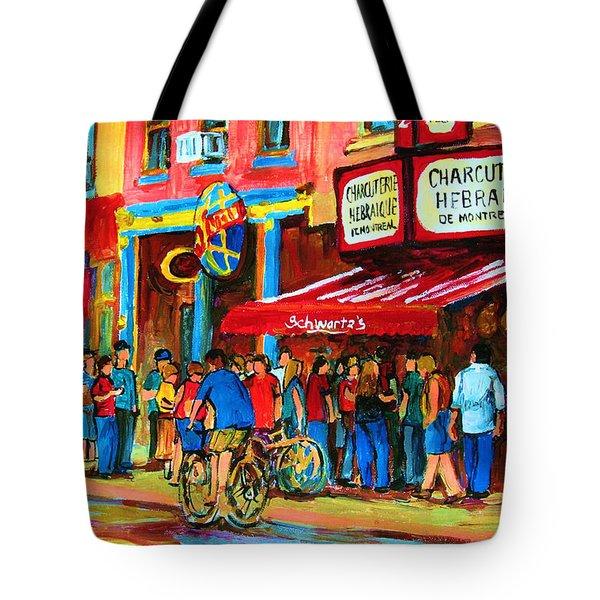 Biking Past The Deli Tote Bag by Carole Spandau