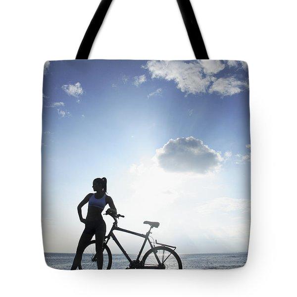 Biking Silhouette Tote Bag by Brandon Tabiolo - Printscapes