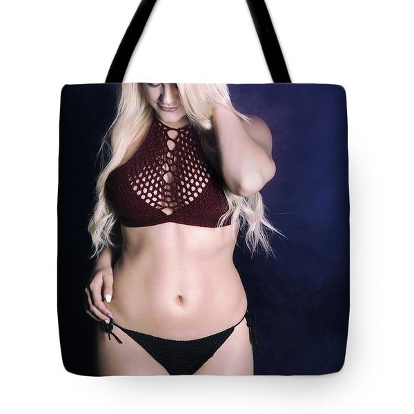 Bikini Blonde On Blue Tote Bag