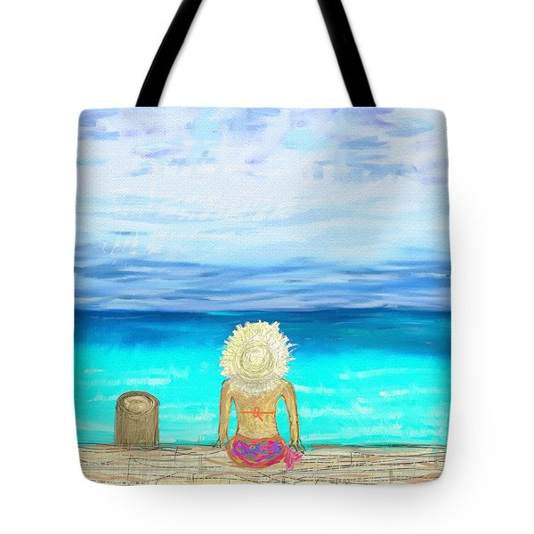 Bikini On The Pier Tote Bag