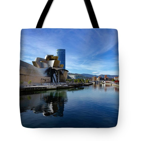 Bilbao In Autumn With Blue Skies Next To The River Nervion Tote Bag