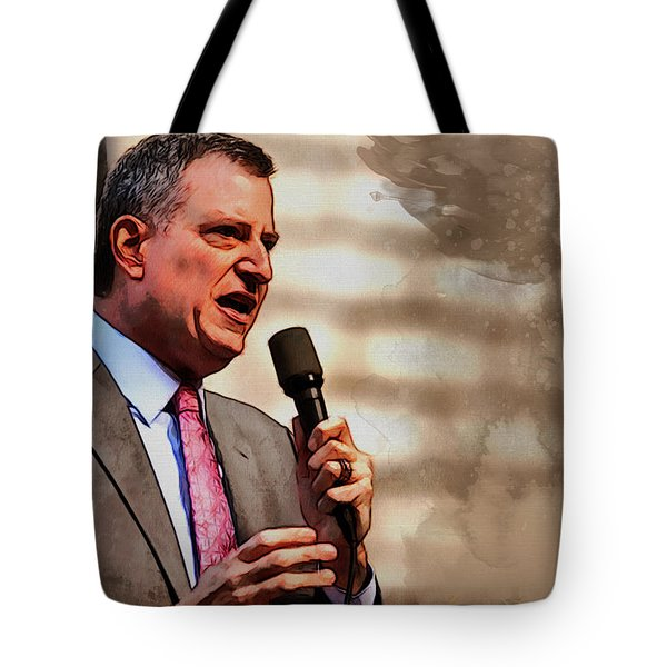 Tote Bag featuring the painting Bill De Blasio by Kai Saarto