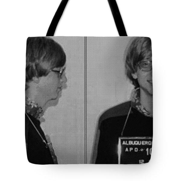 Bill Gates Mug Shot Horizontal Black And White Tote Bag by Tony Rubino