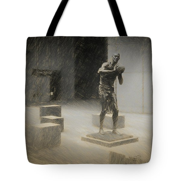 Bill Russell Statue Tote Bag