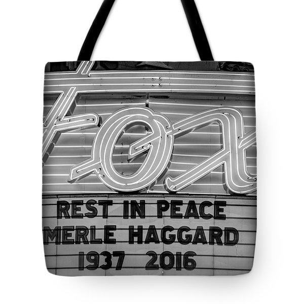 Billboard Merle Haggard Rip Black And White Tote Bag