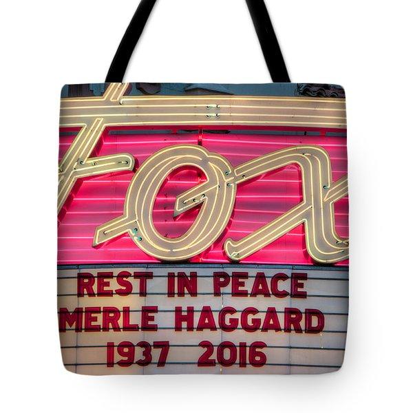 Billboard Merle Haggard Rip Tote Bag