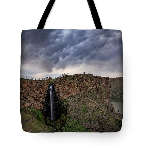 Tote Bag featuring the photograph Billy Chinook Falls by Cat Connor