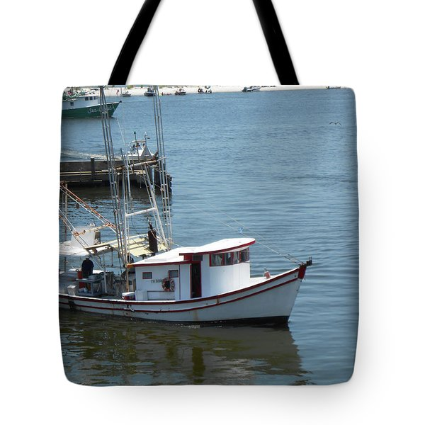 Tote Bag featuring the photograph Bilouxi Shrimp Boat by Cynthia Powell