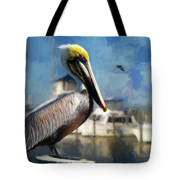 Biloxi Harbor Pelican Tote Bag