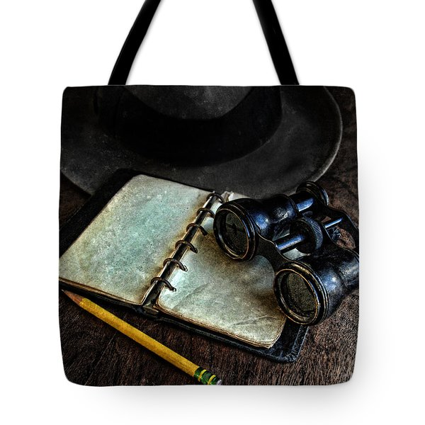 Binoculars Fedora And Notebook Tote Bag by Jill Battaglia