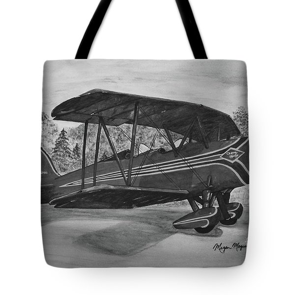 Biplane In Black And White Tote Bag