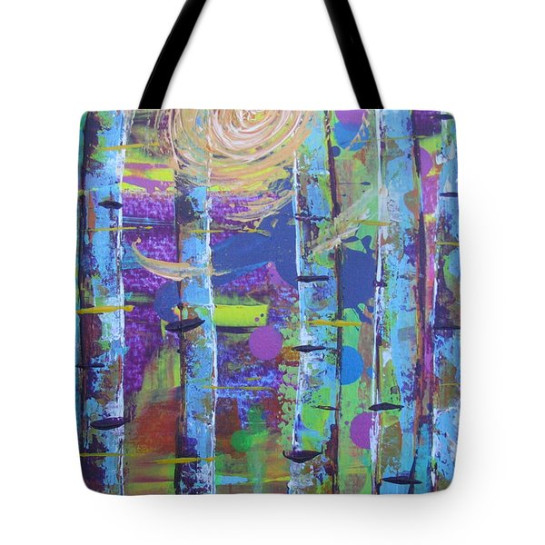 Tote Bag featuring the painting Birch 6 by Jacqueline Athmann