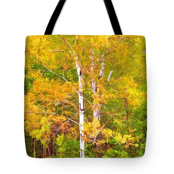 Birch Afire  Tote Bag