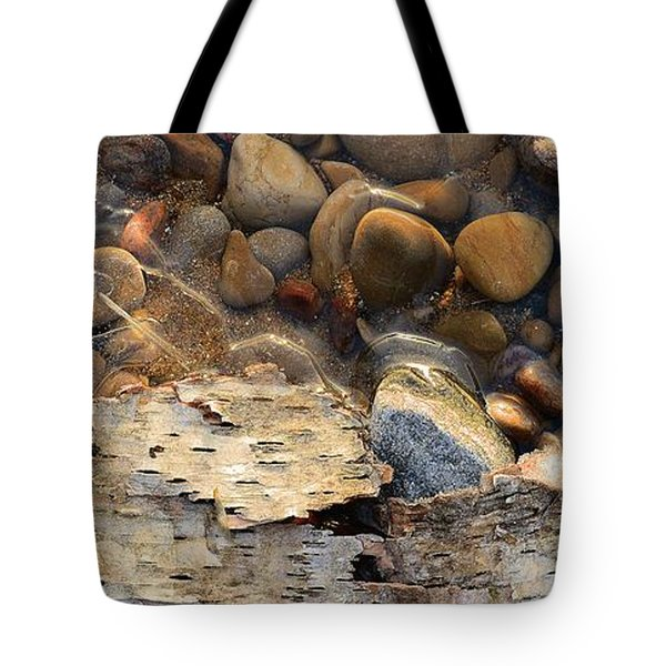 Birch Bark And Ice In The Creek Four  Tote Bag