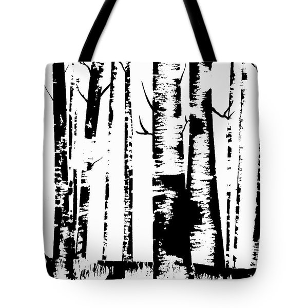 Birch Forest Black Tote Bag