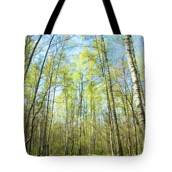 Birch Forest Spring Tote Bag