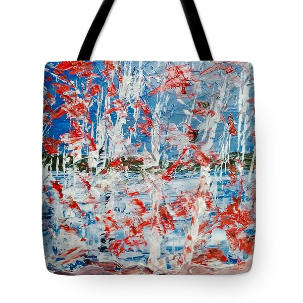 Birch On Pink Rocks Tote Bag