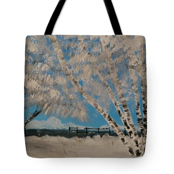 Birch Snow Tote Bag