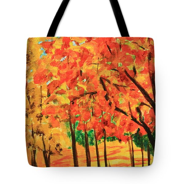 Birch Tree /autumn Leaves Tote Bag