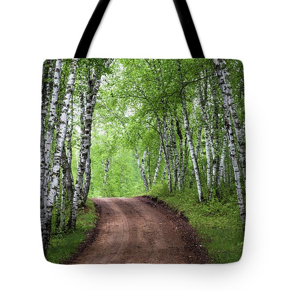 Birch Tree Forest Path #3 Tote Bag