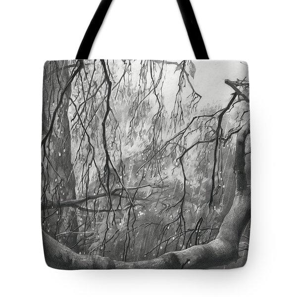 Birch Tree In Rain Tote Bag